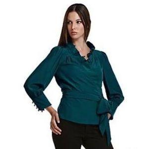 DIANE von FURSTENBERG 100% Silk blouse size 4 blue